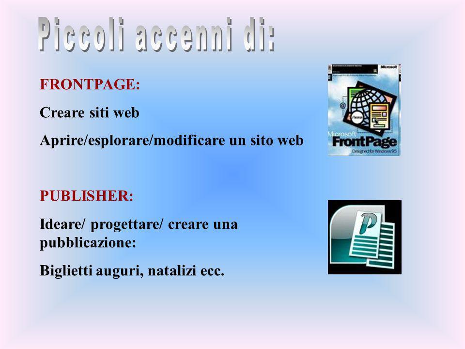 Piccoli accenni di: FRONTPAGE: Creare siti web