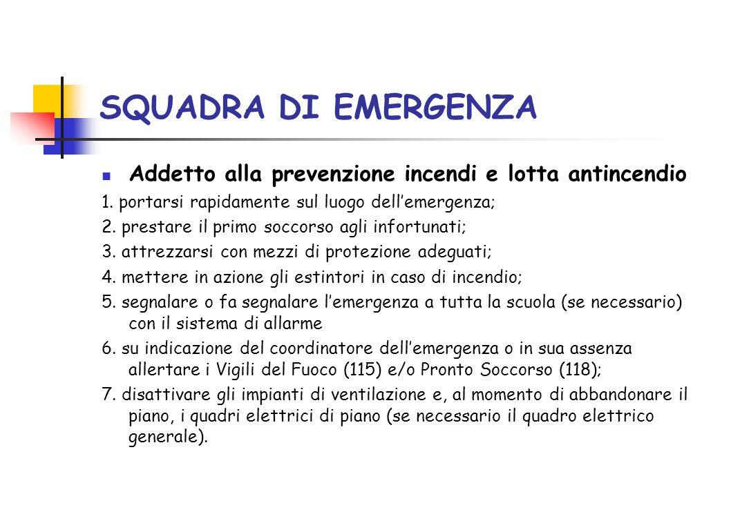 SQUADRA DI EMERGENZA Addetto alla prevenzione incendi e lotta antincendio. 1. portarsi rapidamente sul luogo dell'emergenza;