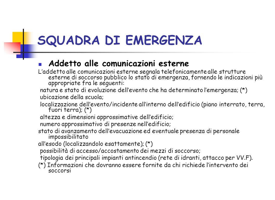 SQUADRA DI EMERGENZA Addetto alle comunicazioni esterne