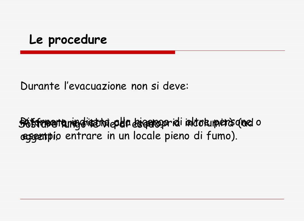 Le procedure Durante l'evacuazione non si deve: