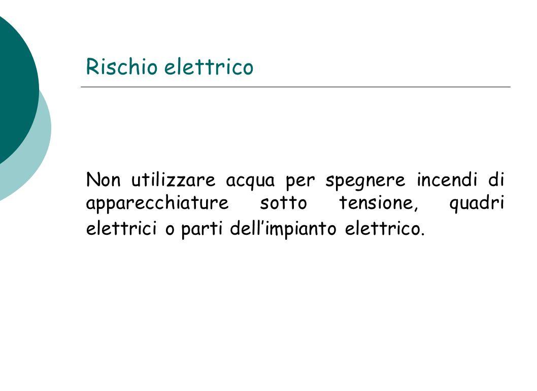 Rischio elettrico Non utilizzare acqua per spegnere incendi di apparecchiature sotto tensione, quadri elettrici o parti dell'impianto elettrico.