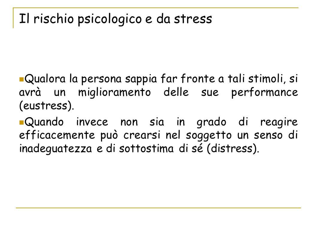 Il rischio psicologico e da stress