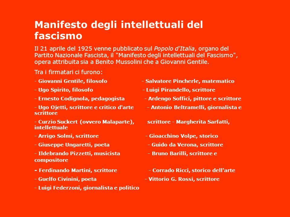 Manifesto degli intellettuali del fascismo