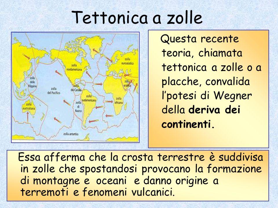 Tettonica a zolle Questa recente teoria, chiamata tettonica a zolle o a placche, convalida l'potesi di Wegner della deriva dei continenti.