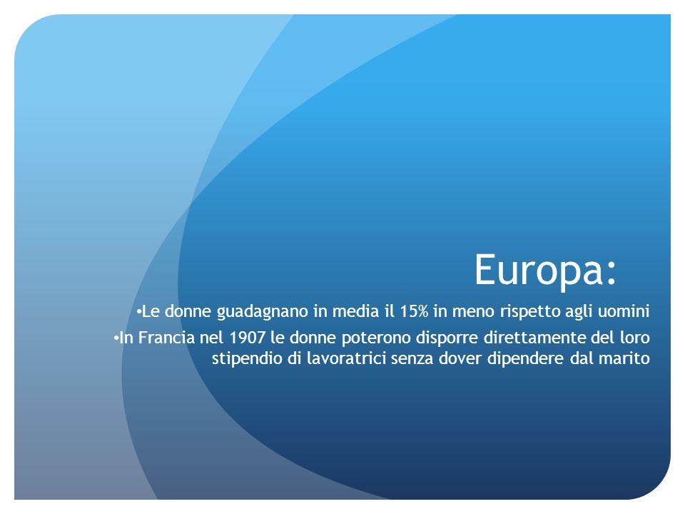 Europa: Le donne guadagnano in media il 15% in meno rispetto agli uomini.