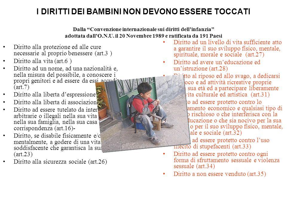 I DIRITTI DEI BAMBINI NON DEVONO ESSERE TOCCATI Dalla Convenzione internazionale sui diritti dell'infanzia adottata dall'O.N.U. il 20 Novembre 1989 e ratificata da 191 Paesi