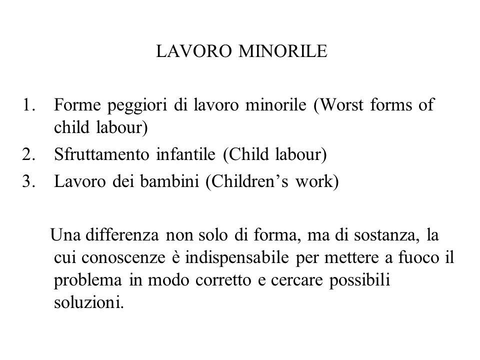 LAVORO MINORILE Forme peggiori di lavoro minorile (Worst forms of child labour) Sfruttamento infantile (Child labour)
