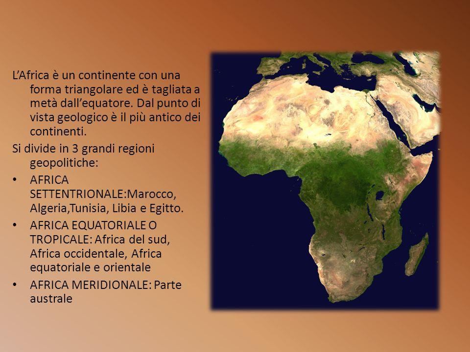L'Africa è un continente con una forma triangolare ed è tagliata a metà dall'equatore. Dal punto di vista geologico è il più antico dei continenti.