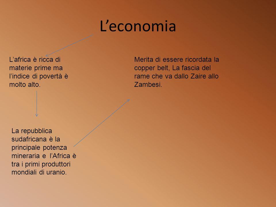 L'economia L'africa è ricca di materie prime ma l'indice di povertà è molto alto.