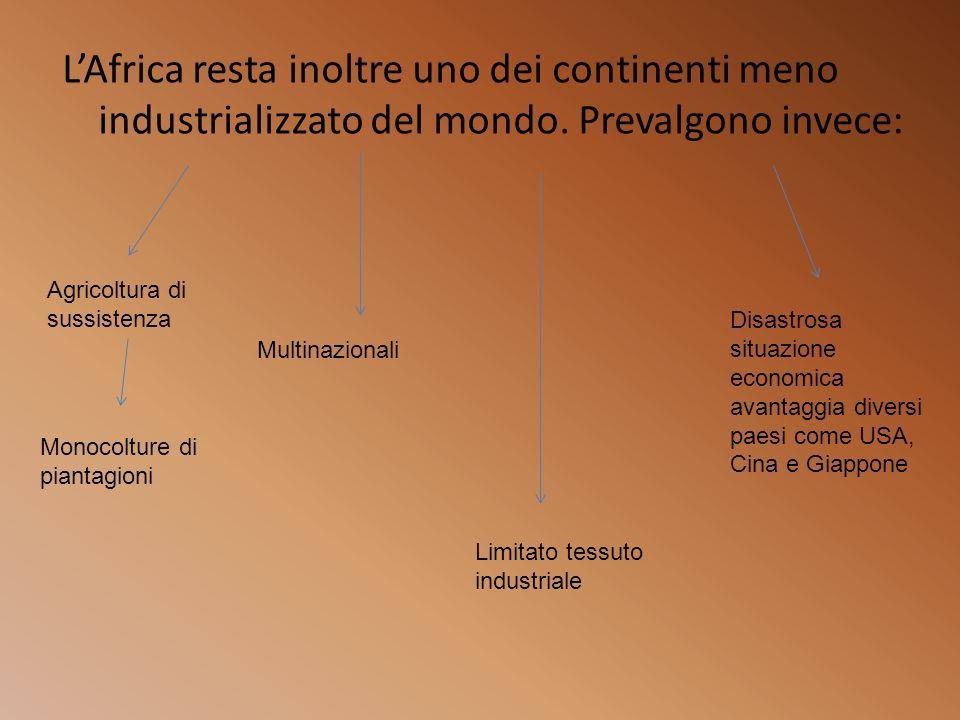 L'Africa resta inoltre uno dei continenti meno industrializzato del mondo. Prevalgono invece: