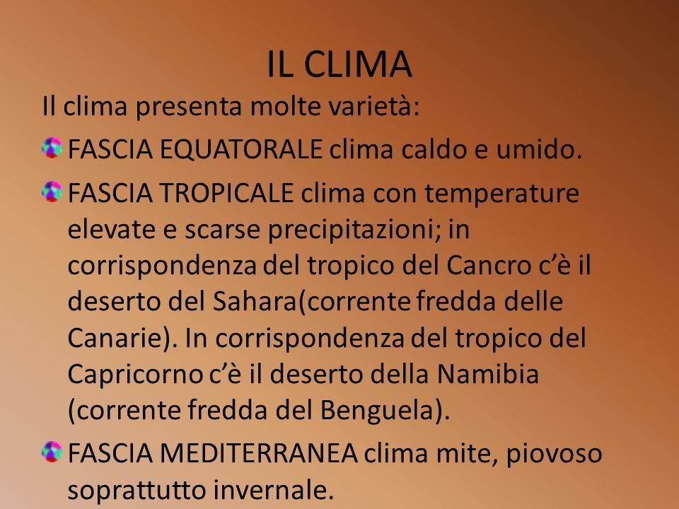 IL CLIMA Il clima presenta molte varietà: