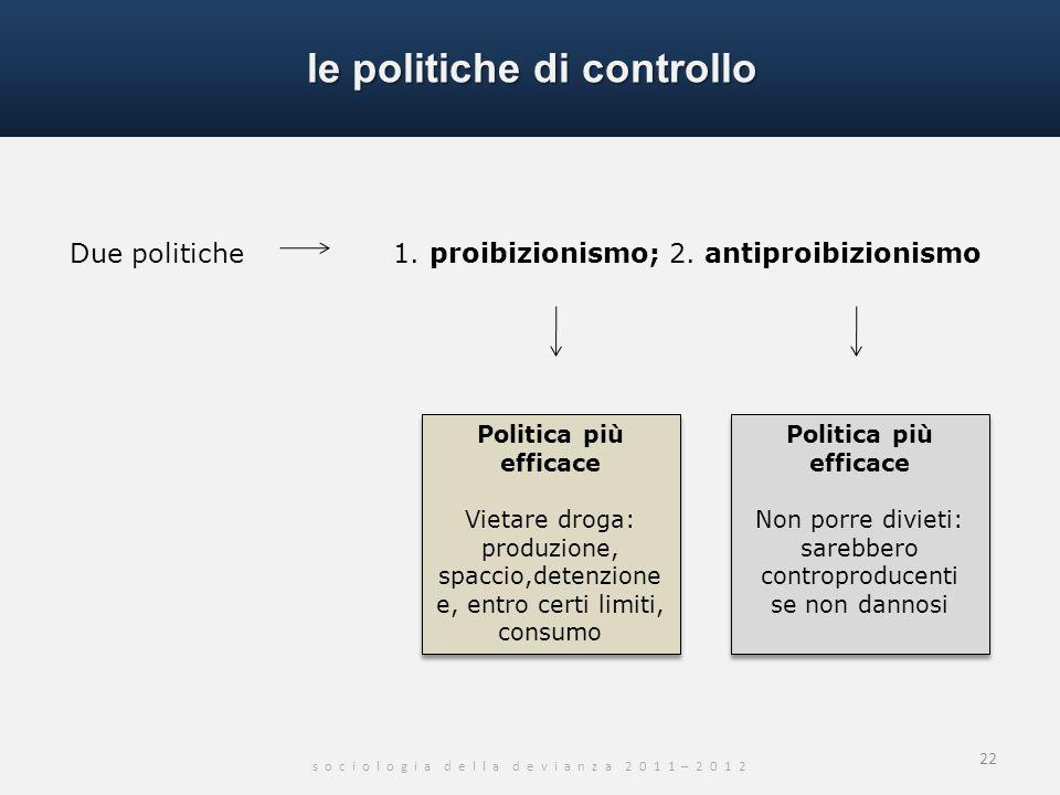le politiche di controllo