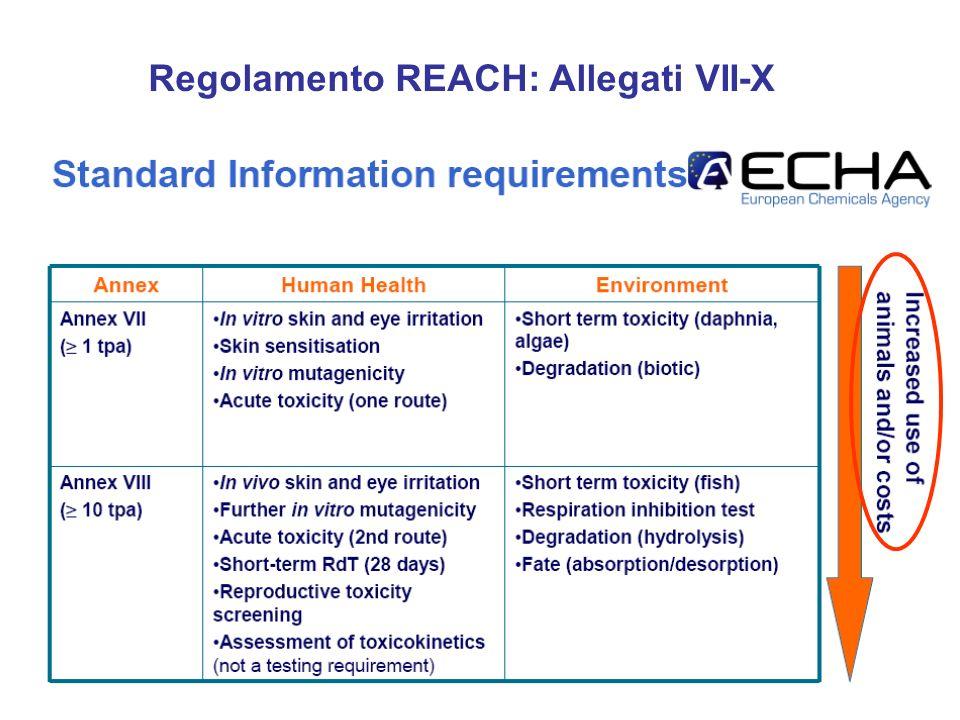 Regolamento REACH: Allegati VII-X