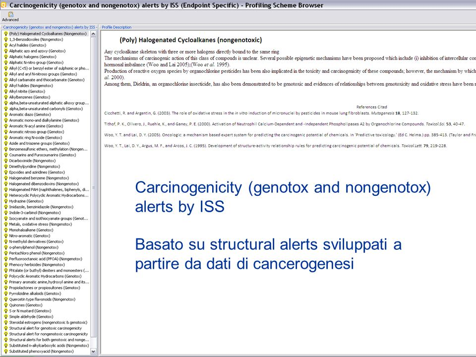 Carcinogenicity (genotox and nongenotox) alerts by ISS