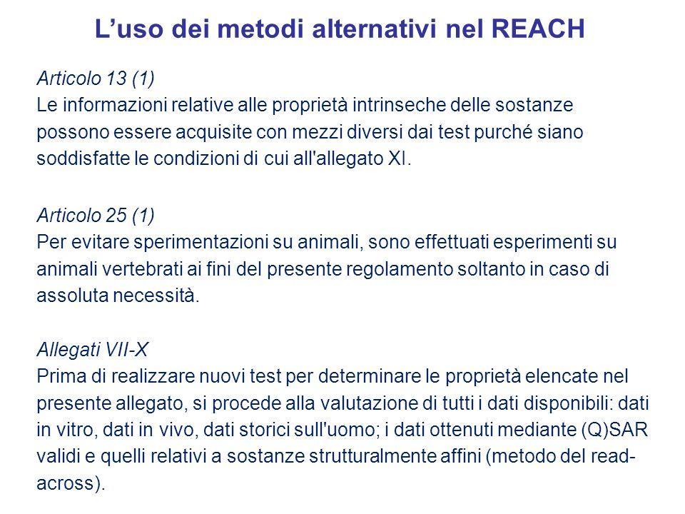 L'uso dei metodi alternativi nel REACH