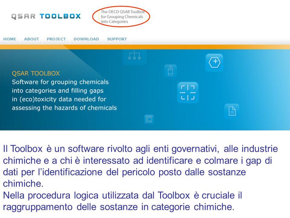 Il Toolbox è un software rivolto agli enti governativi, alle industrie chimiche e a chi è interessato ad identificare e colmare i gap di dati per l'identificazione del pericolo posto dalle sostanze chimiche.