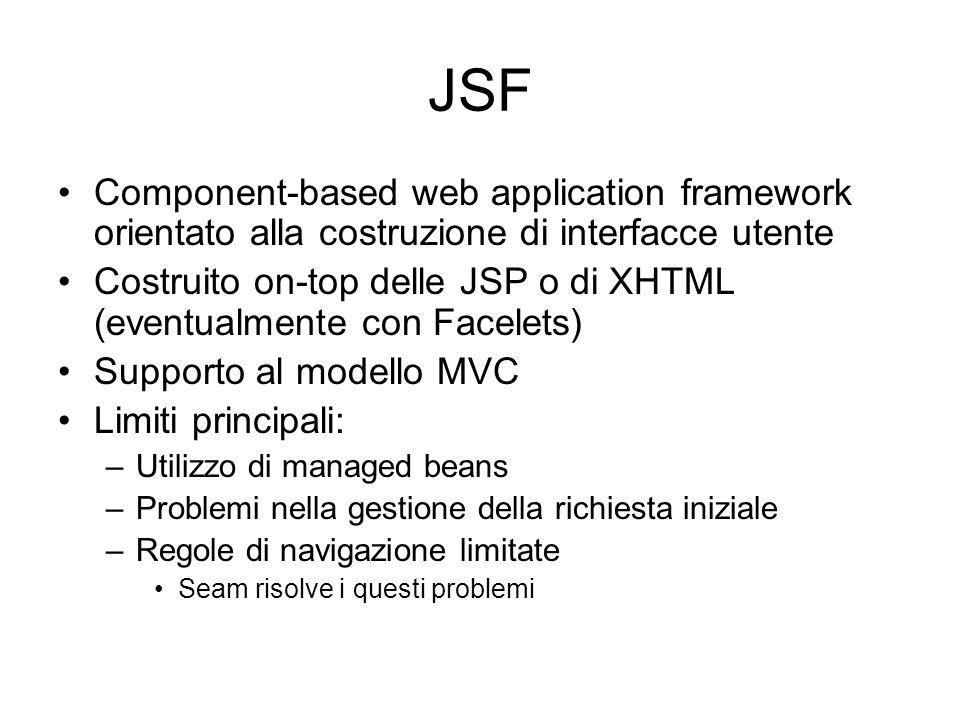 JSF Component-based web application framework orientato alla costruzione di interfacce utente.