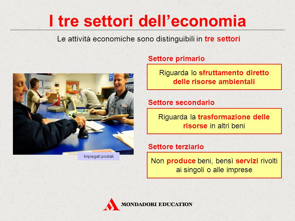 I tre settori dell'economia