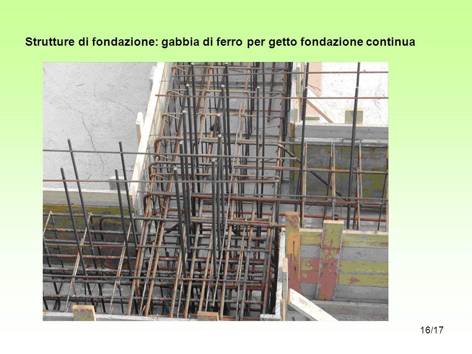 Strutture di fondazione: gabbia di ferro per getto fondazione continua