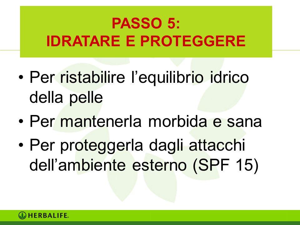 PASSO 5: IDRATARE E PROTEGGERE