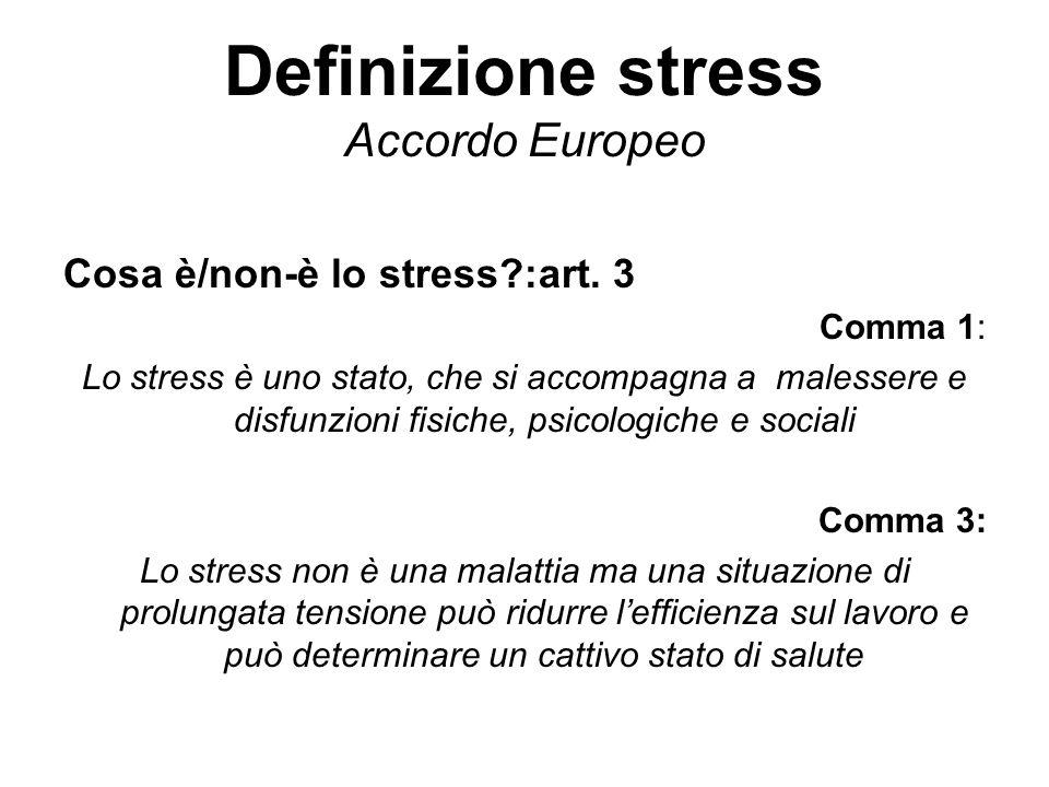 Definizione stress Accordo Europeo