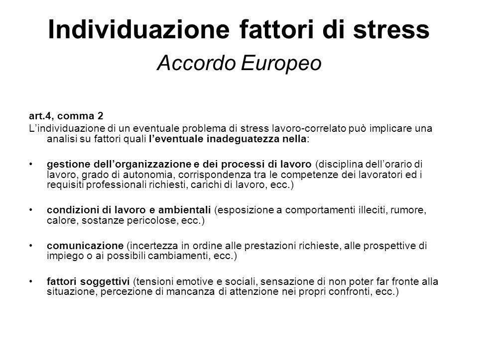 Individuazione fattori di stress Accordo Europeo