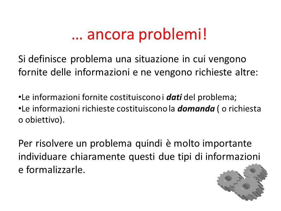 … ancora problemi! Si definisce problema una situazione in cui vengono fornite delle informazioni e ne vengono richieste altre: