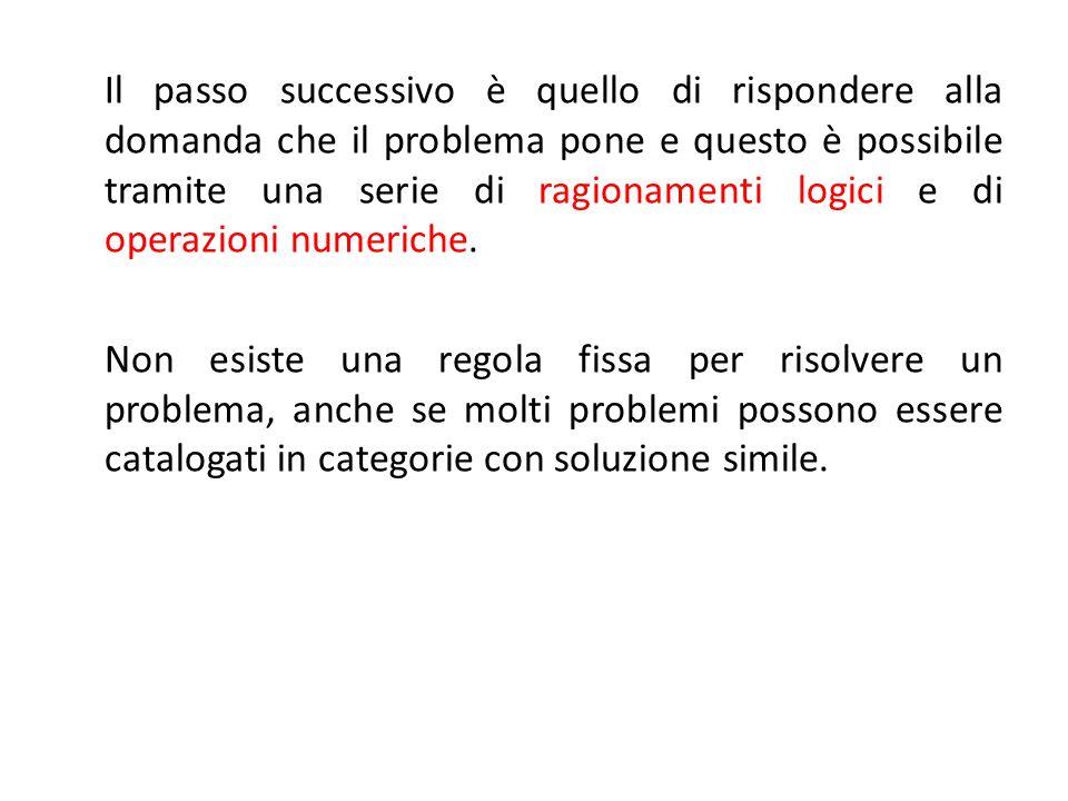 Il passo successivo è quello di rispondere alla domanda che il problema pone e questo è possibile tramite una serie di ragionamenti logici e di operazioni numeriche.