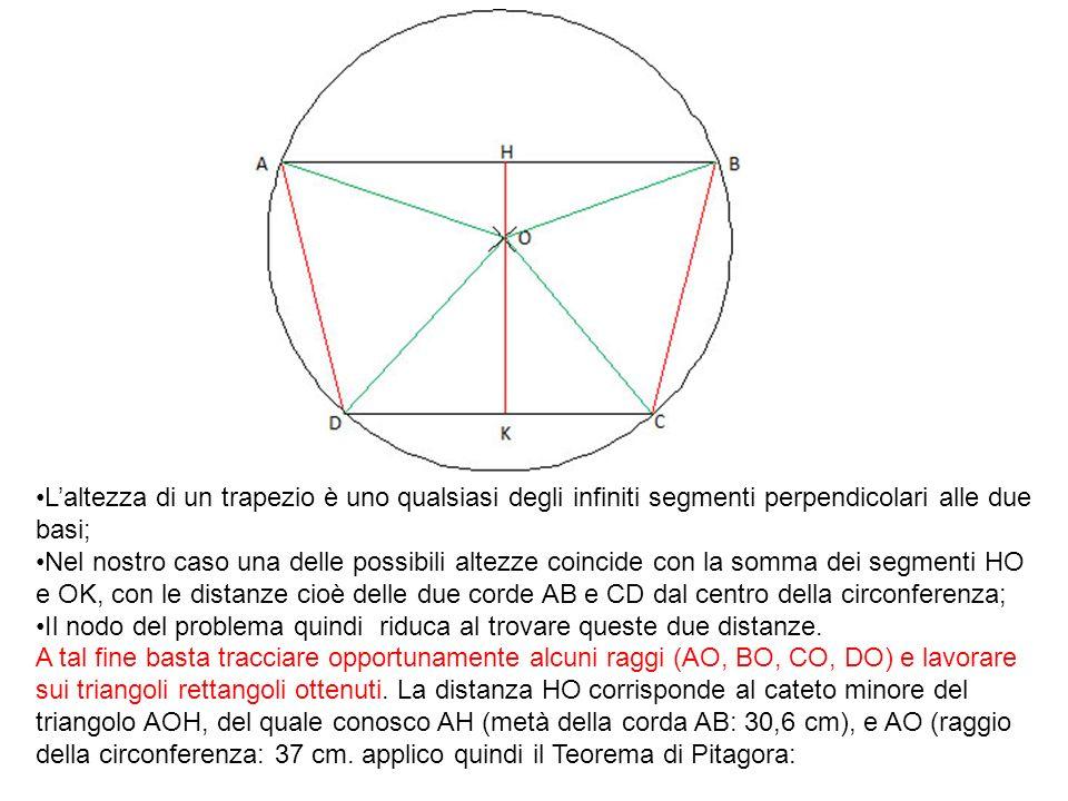 L'altezza di un trapezio è uno qualsiasi degli infiniti segmenti perpendicolari alle due basi;