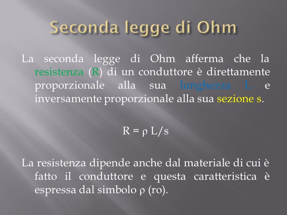 Seconda legge di Ohm