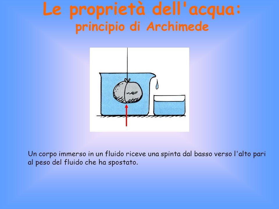 Le proprietà dell acqua: principio di Archimede