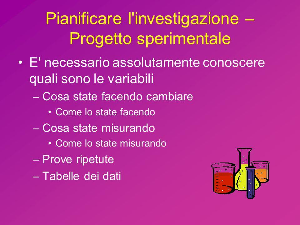 Pianificare l investigazione – Progetto sperimentale