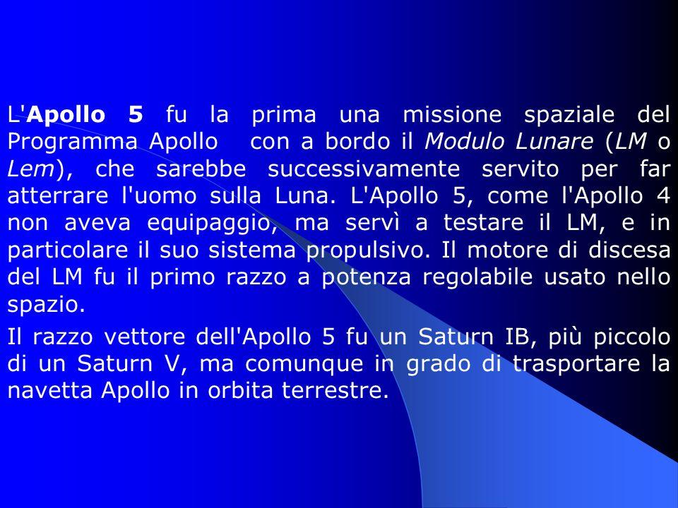 L Apollo 5 fu la prima una missione spaziale del Programma Apollo con a bordo il Modulo Lunare (LM o Lem), che sarebbe successivamente servito per far atterrare l uomo sulla Luna. L Apollo 5, come l Apollo 4 non aveva equipaggio, ma servì a testare il LM, e in particolare il suo sistema propulsivo. Il motore di discesa del LM fu il primo razzo a potenza regolabile usato nello spazio.