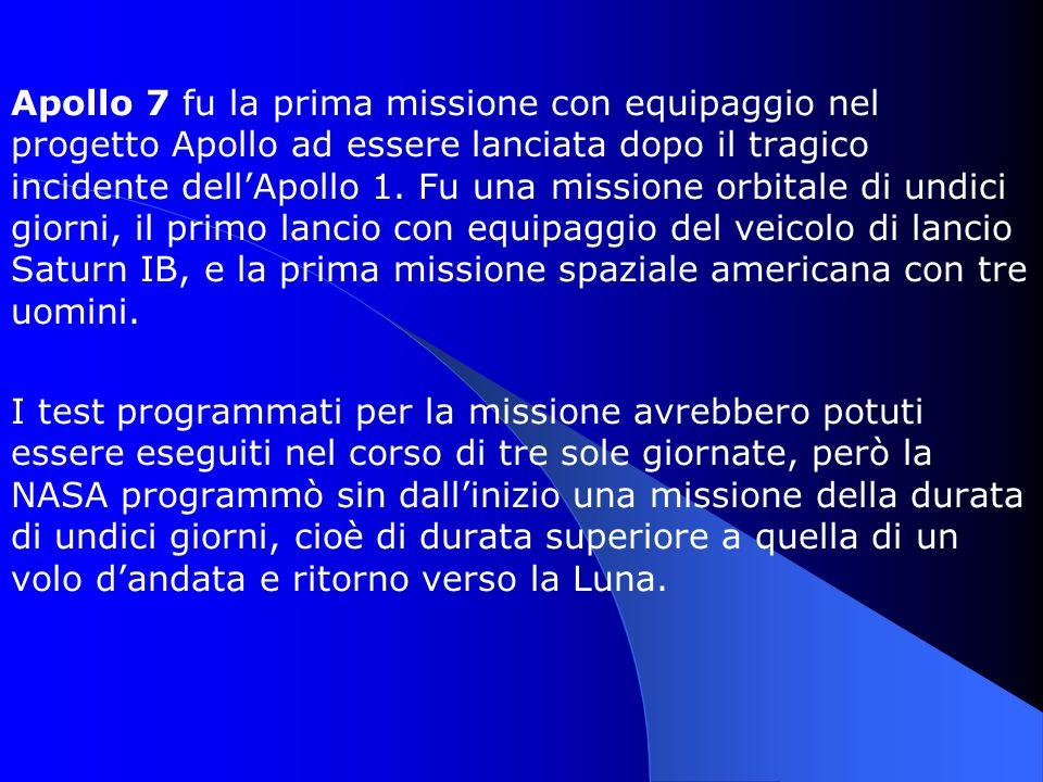 Apollo 7 fu la prima missione con equipaggio nel progetto Apollo ad essere lanciata dopo il tragico incidente dell'Apollo 1. Fu una missione orbitale di undici giorni, il primo lancio con equipaggio del veicolo di lancio Saturn IB, e la prima missione spaziale americana con tre uomini.