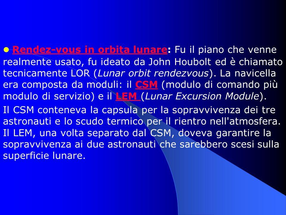 Rendez-vous in orbita lunare: Fu il piano che venne realmente usato, fu ideato da John Houbolt ed è chiamato tecnicamente LOR (Lunar orbit rendezvous). La navicella era composta da moduli: il CSM (modulo di comando più modulo di servizio) e il LEM (Lunar Excursion Module).