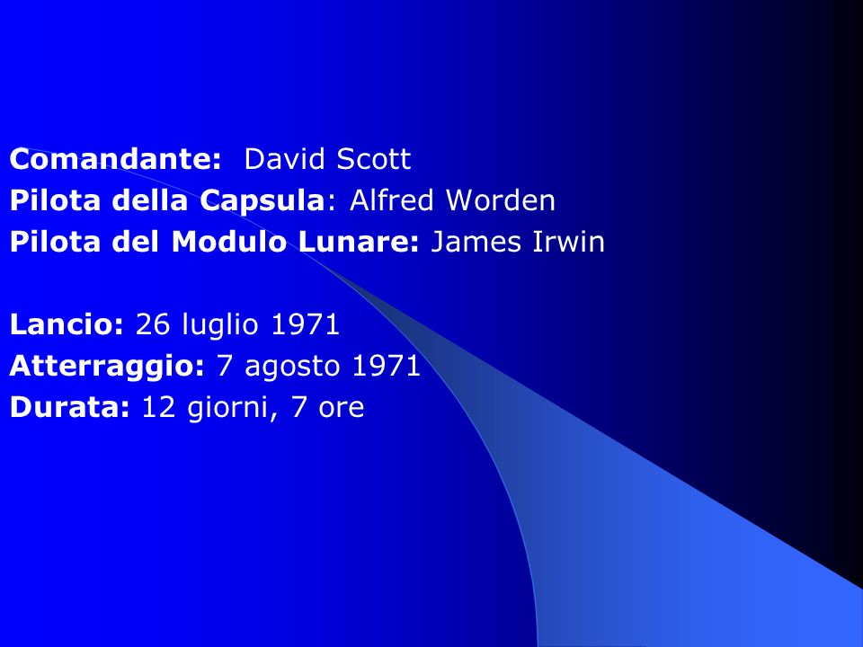 Comandante: David Scott