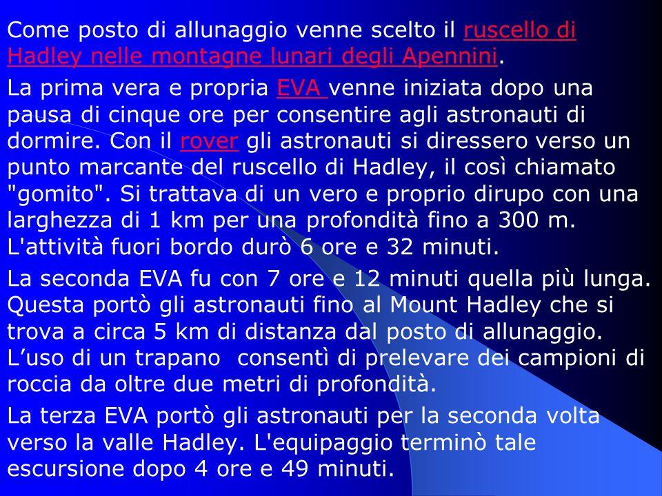 Come posto di allunaggio venne scelto il ruscello di Hadley nelle montagne lunari degli Apennini.