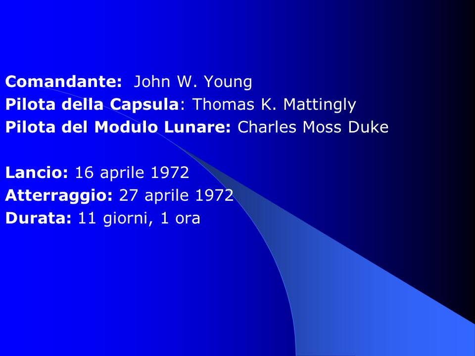 Comandante: John W. Young