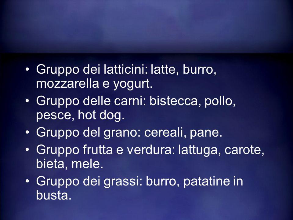 Gruppo dei latticini: latte, burro, mozzarella e yogurt.