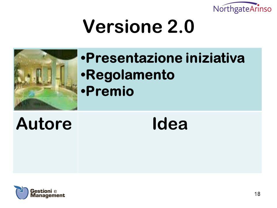 Versione 2.0 Presentazione iniziativa Regolamento Premio Autore Idea