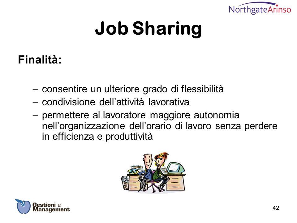 Job Sharing Finalità: consentire un ulteriore grado di flessibilità