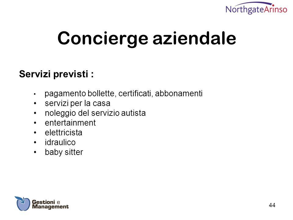 Concierge aziendale Servizi previsti : servizi per la casa