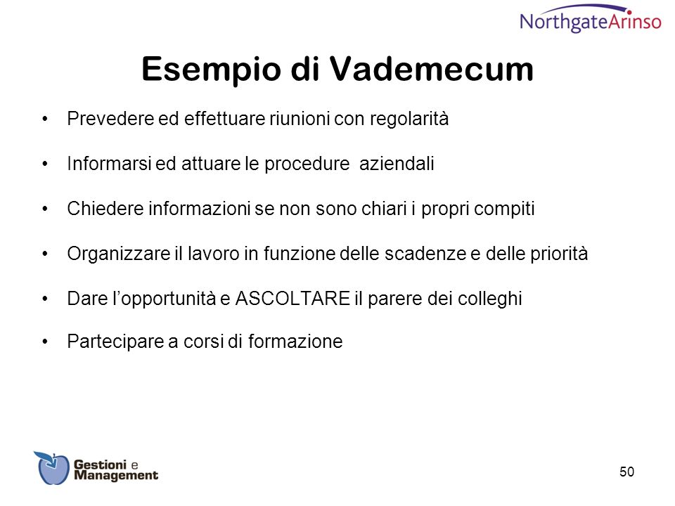 Esempio di Vademecum Prevedere ed effettuare riunioni con regolarità