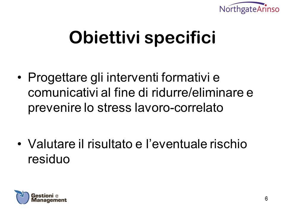 Obiettivi specifici Progettare gli interventi formativi e comunicativi al fine di ridurre/eliminare e prevenire lo stress lavoro-correlato.