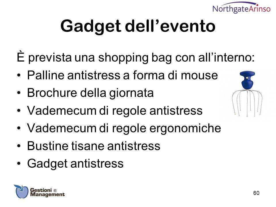 Gadget dell'evento È prevista una shopping bag con all'interno: