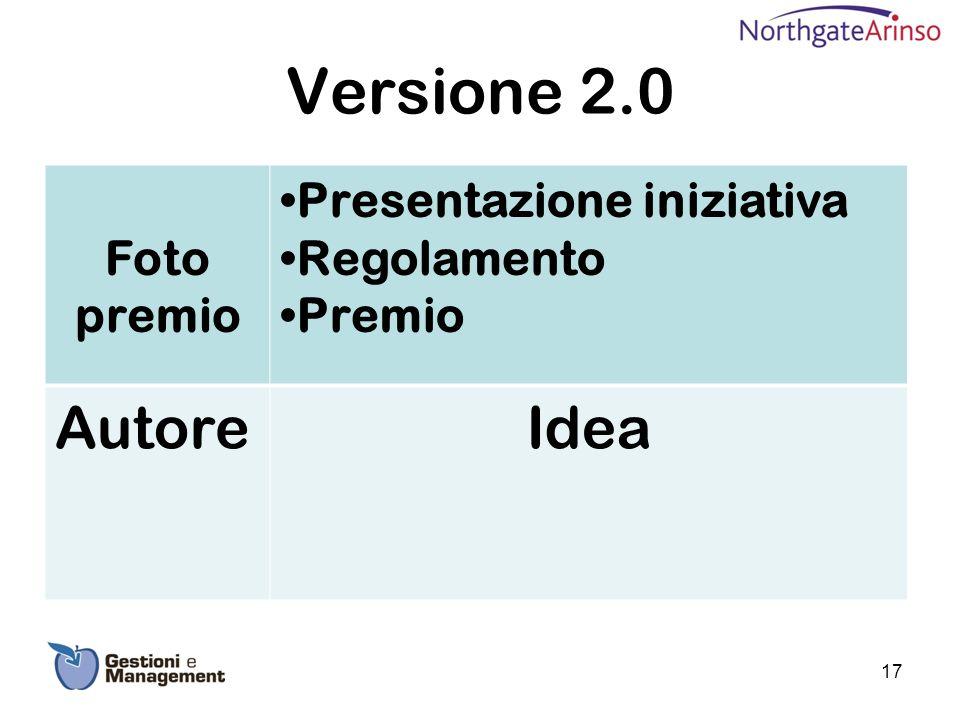 Versione 2.0 Autore Idea Foto premio Presentazione iniziativa