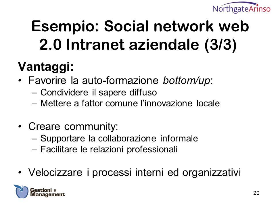 Esempio: Social network web 2.0 Intranet aziendale (3/3)