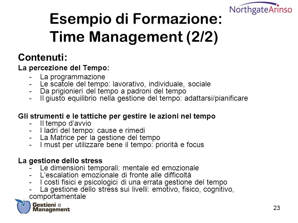 Esempio di Formazione: Time Management (2/2)