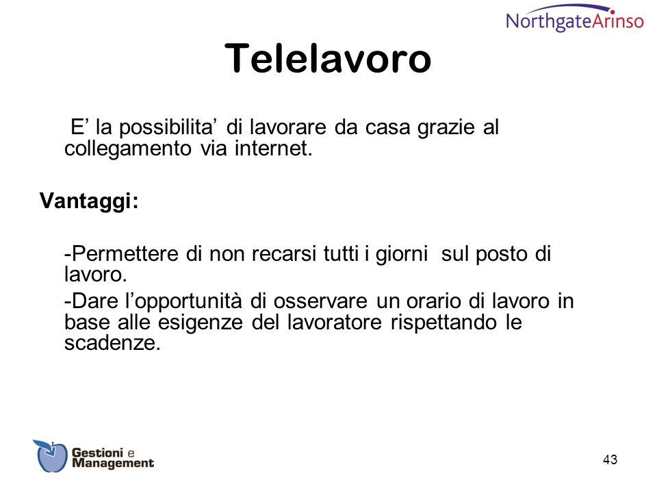 Telelavoro E' la possibilita' di lavorare da casa grazie al collegamento via internet. Vantaggi: