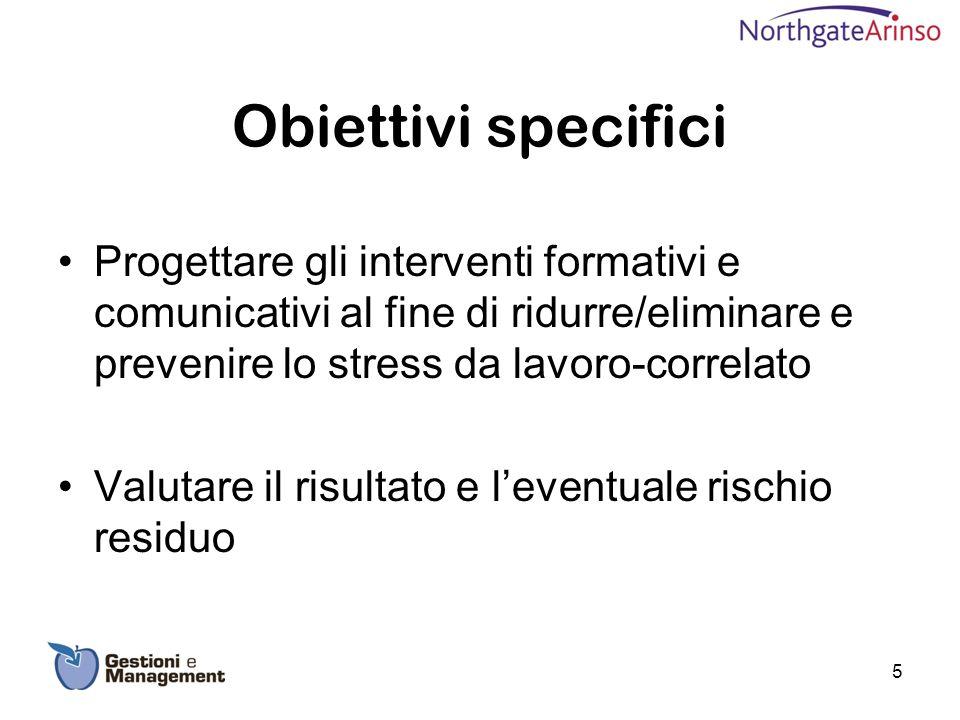 Obiettivi specifici Progettare gli interventi formativi e comunicativi al fine di ridurre/eliminare e prevenire lo stress da lavoro-correlato.